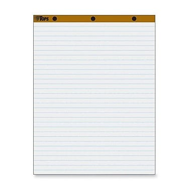 TOPS BUSINESS FORMS Easel Pad, 1'' Horizontal Rule, 50 Sheets, 27''x34'', 2 per Carton, White