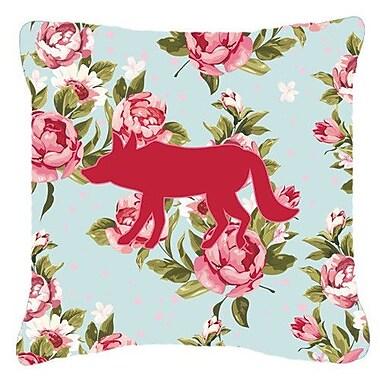 Caroline's Treasures Wolf Shabby Elegance Blue Roses Indoor/Outdoor Throw Pillow