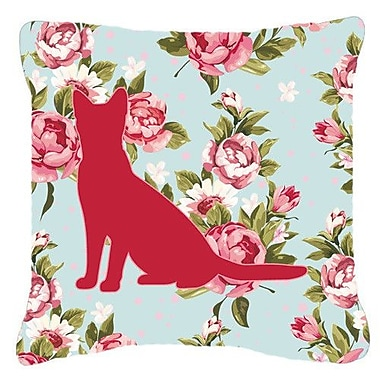 Caroline's Treasures Cat Shabby Elegance Blue Roses Indoor/Outdoor Throw Pillow