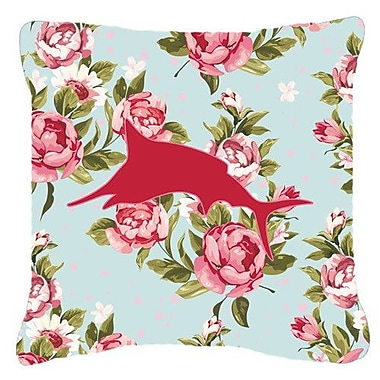 Caroline's Treasures Marlin Shabby Elegance Blue Roses Indoor/Outdoor Throw Pillow