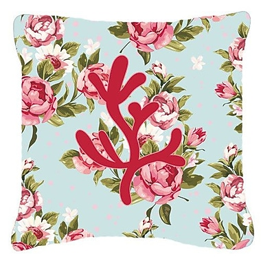 Caroline's Treasures Coral Shabby Elegance Blue Roses Indoor/Outdoor Throw Pillow