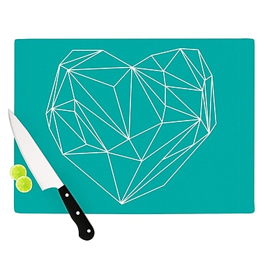 KESS InHouse Heart Graphic Turquoise by Mareike Boehmer Abstract Cutting Board