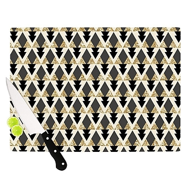 KESS InHouse Glitter Triangles in Gold & Black by Nika Martinez Geometric Cutting Board