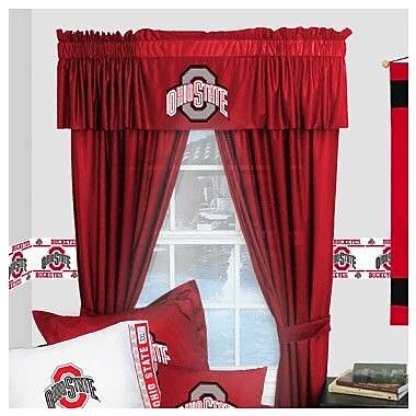 Sports Coverage NCAA Ohio State Buckeyes Rod Pocket Window Treatment Set (Set of 2); 63'' W x 82'' L