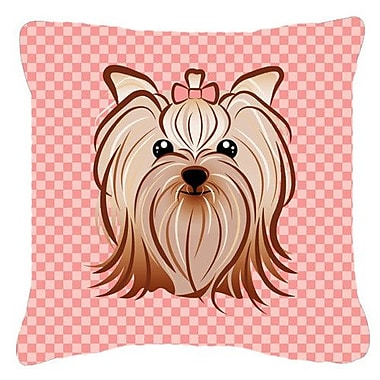 Caroline's Treasures Checkered Yorkie/ Yorkshire Terrier Indoor/Outdoor Throw Pillow