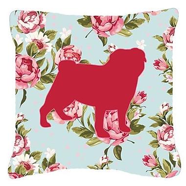 Caroline's Treasures Pug Shabby Elegance Blue Roses Indoor/Outdoor Throw Pillow