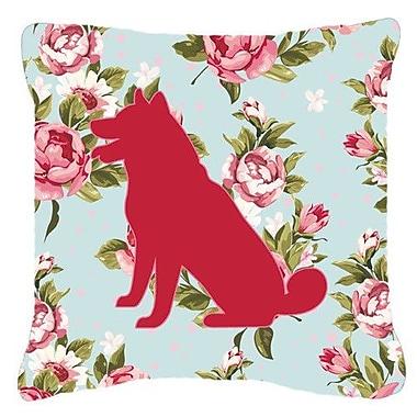 Caroline's Treasures Shiba Inu Shabby Elegance Blue Roses Indoor/Outdoor Throw Pillow