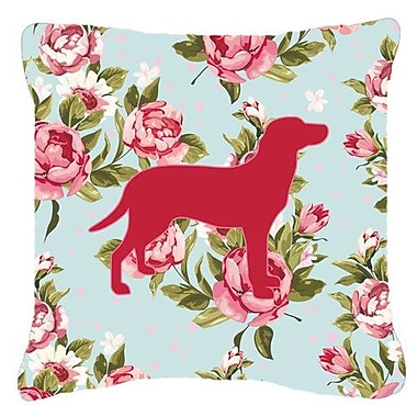 Caroline's Treasures Labrador Shabby Elegance Blue Roses Indoor/Outdoor Throw Pillow
