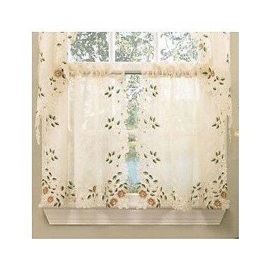 Sweet Home Collection Old World Style Floral Embroidered Semi-Sheer Tier Curtain (Set of 2)