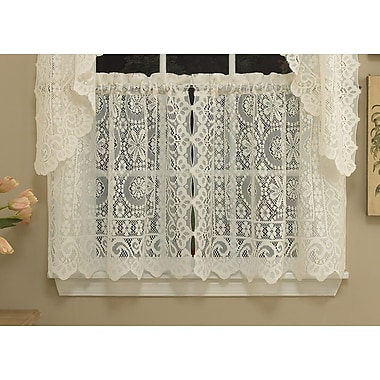 Sweet Home Collection Old World Style Floral Heavy Lace Kitchen Tier Curtain (Set of 2)