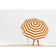 Frankford Umbrellas 7.5' Beach Umbrella; Orange / White Stripe