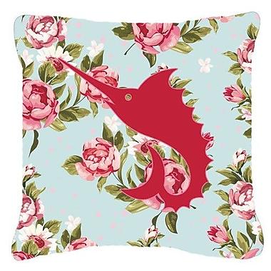 Caroline's Treasures Swordfish Shabby Elegance Blue Roses Indoor/Outdoor Throw Pillow