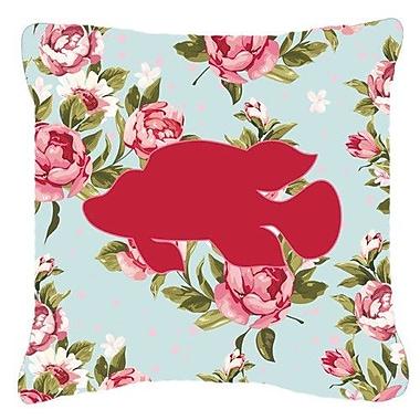 Caroline's Treasures Tropical Fish Shabby Elegance Blue Roses Indoor/Outdoor Throw Pillow