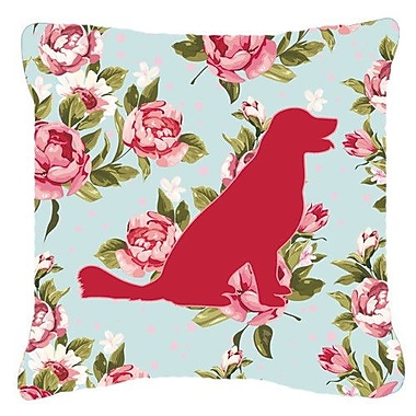 Caroline's Treasures Labrador Shabby Elegance Blue Roses Indoor/Outdoor Throw Pillow