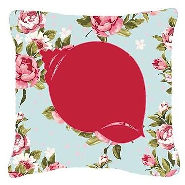 Caroline's Treasures Shell Shabby Elegance Blue Roses Indoor/Outdoor Throw Pillow