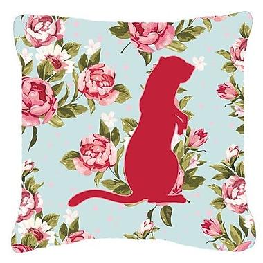 Caroline's Treasures Meerkat Shabby Elegance Blue Roses Indoor/Outdoor Throw Pillow