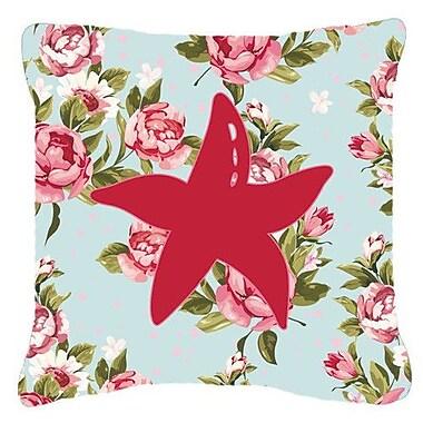 Caroline's Treasures Starfish Shabby Elegance Blue Roses Indoor/Outdoor Throw Pillow