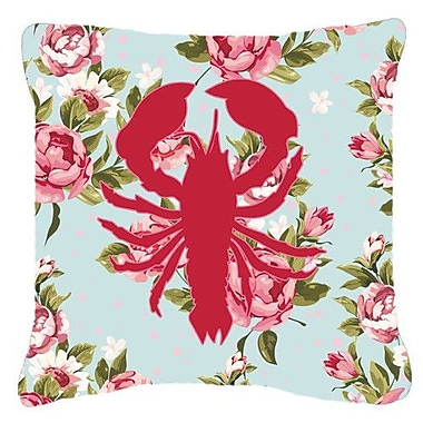 Caroline's Treasures Lobster Shabby Elegance Blue Roses Indoor/Outdoor Throw Pillow