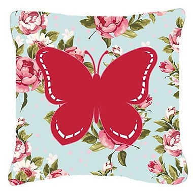 East Urban Home Butterfly Shabby Elegance Blue/Pink Roses Modern Fabric Indoor/Outdoor Throw Pillow