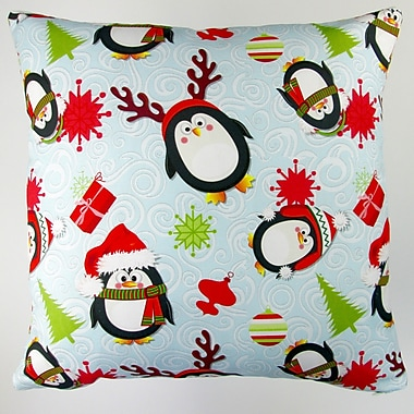 Artisan Pillows Christmas Holiday Penguins Throw Pillow