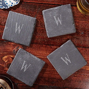 Home Wet Bar Franklin Personalized Slate Coaster (Set of 4); E
