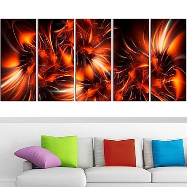 Art mural en métal, étoiles rayonnantes orange, 60 x 28 po, 5 panneaux (MT3060-401)