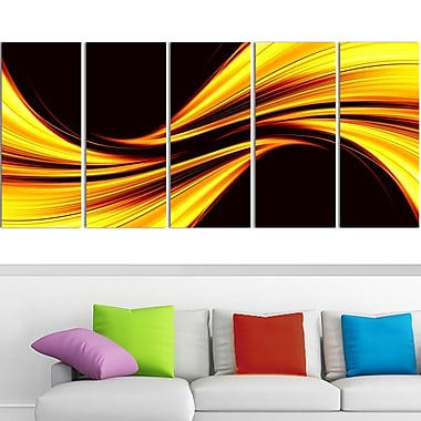 Mellow Yellow Harmony Abstract Metal Wall Art, 60x28, 5 Panels, (MT3019-401)