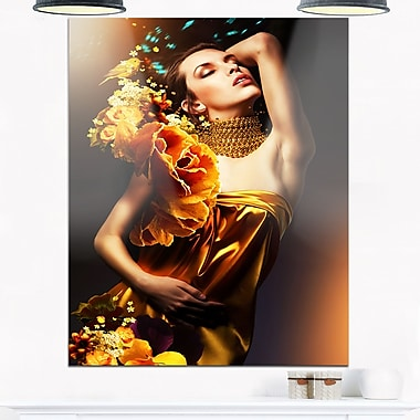 Woman in Yellow Dress Portrait Metal Wall Art, 12x28, (MT6895-12-28)