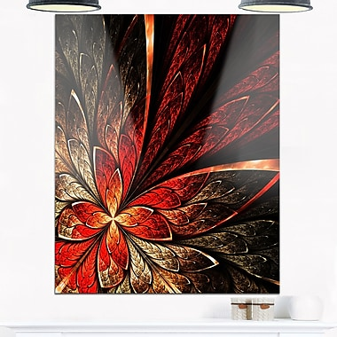 Fractal Flower in Yellow and Red Floral Metal Wall Art, 12x28, (MT6756-12-28)