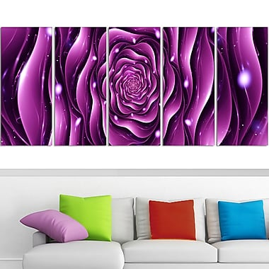 Purple Rose Digital Metal Wall Art, 60x28, 5 Panels, (MT3007-401)