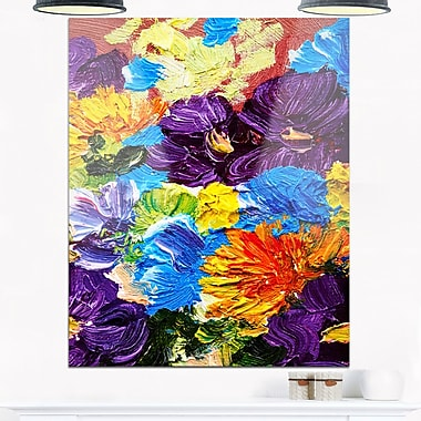 Heavily Textured Abstract Flowers Metal Wall Art, 12x28, (MT6194-12-28)