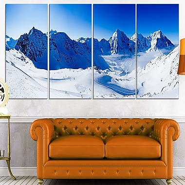 Blue Winter Mountains Photography Metal Wall Art, 48x28, 4 Panels, (MT7039-271)