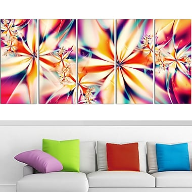 Crystalize Pink Floral Metal Wall Art, 60x28, 5 Panels, (MT3013-401)