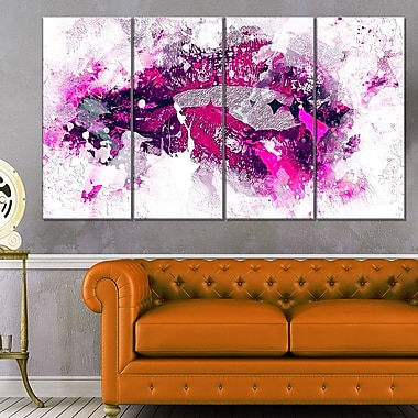 Pink and Purple LipsSensual Metal Wall Art, 48x28, 4 Panels, (MT2937-271)