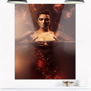 Art mural en métal, femme sensuelle nue en feu, art contemporain, 12 x 28 (MT6624-12-28)