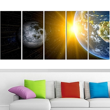 Sun Moon and Earth Our Worlds Metal Wall Art, 60x28, 5 Panels, (MT3088-401)