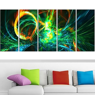 Fire Green Abstract Metal Wall Art, 60x28, 5 Panels, (MT3025-401)