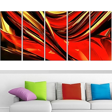 Fire Lines Red Abstract Digital Metal Wall Art, 60x28, 5 Panels, (MT3011-401)