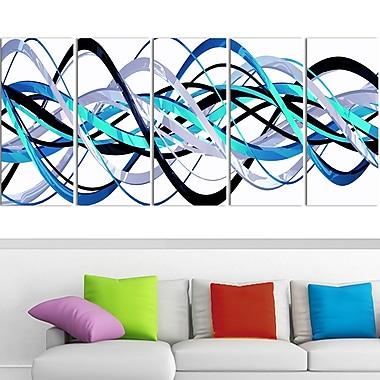 Art mural en métal, hélice bleue et argentée, 60 x 28 po, 5 panneaux (MT3046-401)