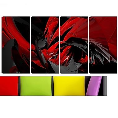 Mélangeur rouge et gris art mural en métal, 48 x 28, 4 panneaux (MT3049-271)