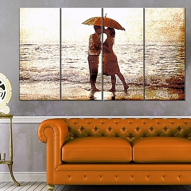 Baby Kiss By the WaterSensual Metal Wall Art, 48x28, 4 Panels, (MT2913-271)