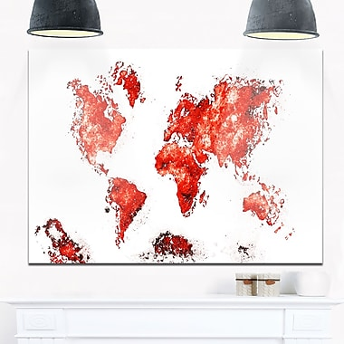 Red Map Metal Wall Art, 28x12, (MT2708-5-28-12)