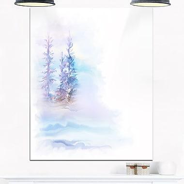 Paysage d'arbres en aquarelle, art mural en métal, 12 x 28 (MT6679-12-28)