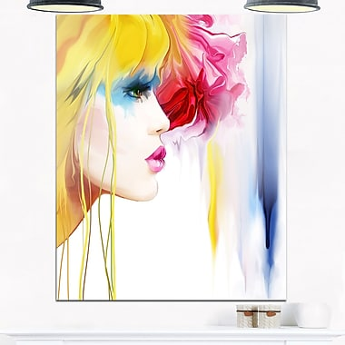 Girl with Colourful Hair Portrait Metal Wall Art, 12x28, (MT6663-12-28)