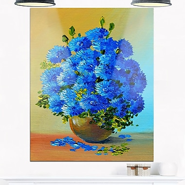 Art mural floral en métal, un bouquet de fleurs bleues, 12 x 28 po (MT6218-12-28)