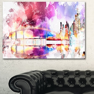 Magic Colourful City Night Metal Wall Art, 28x12, (MT2815-28-12)