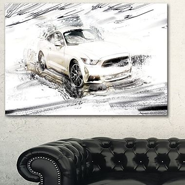 Muscle car blanc super chargé art mural en métal, 28 x 12, (MT2629-28-12)