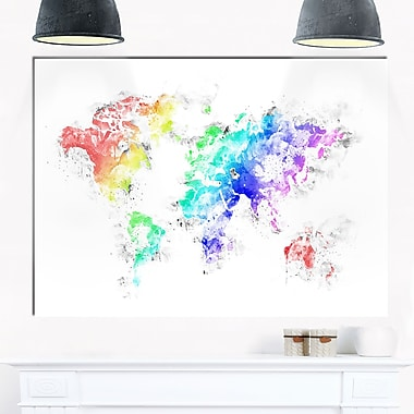 Bright World Map Metal Wall Art, 28x12, (MT2740-28-12)