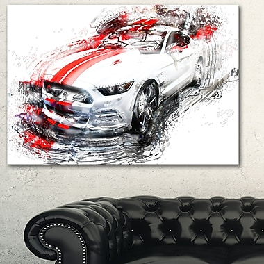 White & Red Sports Car Metal Wall Art, 28x12, (MT2613-28-12)