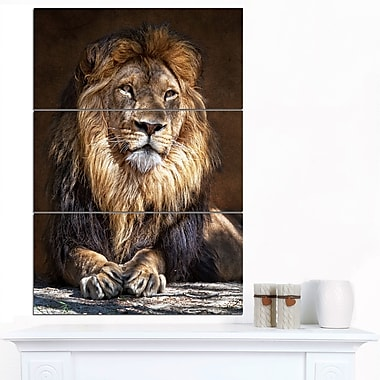 King Lion with Lighted Face Animal Metal Wall Art, 28x36, 3 Panels, (MT7166-28-36)